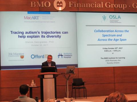 Dr. Stelios Georgiades presenting at the Ontario Association of Speech-Language Pathologists and Audiologists Autism Conference